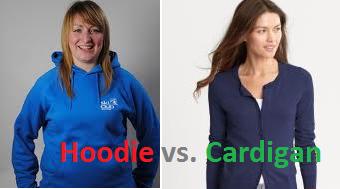 hoodies versus cardigan sweater