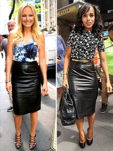 business clothes, leather pencil skirt
