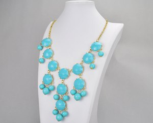 bubble necklace, turquoise, business clothes