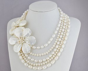 pearl necklace, flower necklace, wedding necklaces, business style