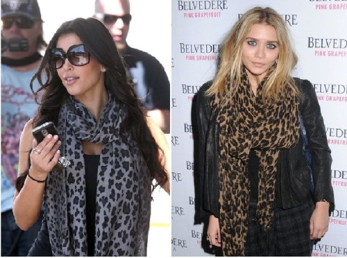 kim kardashian, Ashley Olsen, animal print scarf
