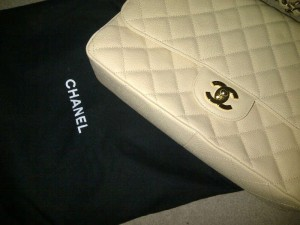 chanel quilted bag, white purse