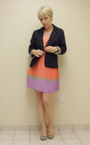Multi coloured dress, navy blazer, business clothes