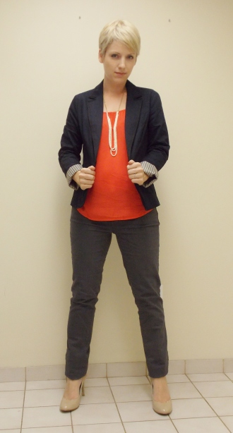 navy blazer, punch, red top, grey skinny jeans