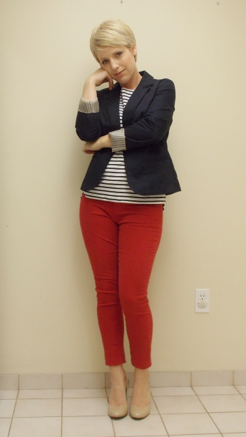 red jeans, navy blazer, nautical look