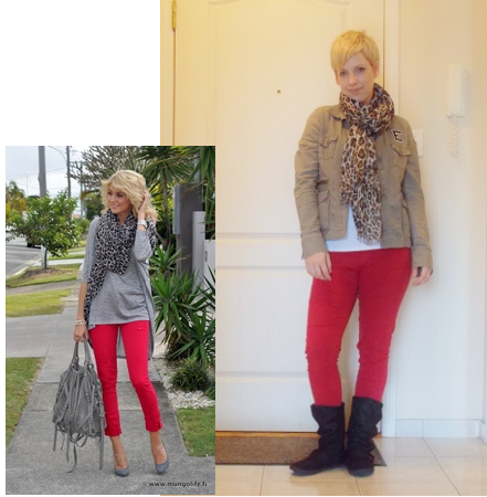 red jeans, animal print scarf, casual style