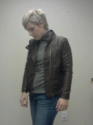 Business Casual, leather moto jacket
