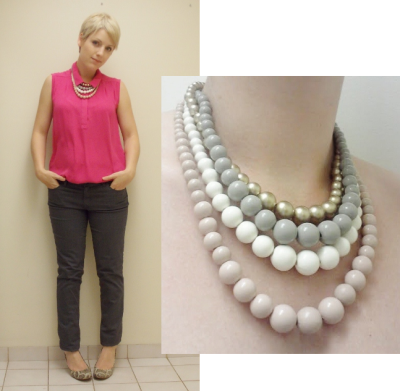 statement necklace, how to wear, business clothes for women