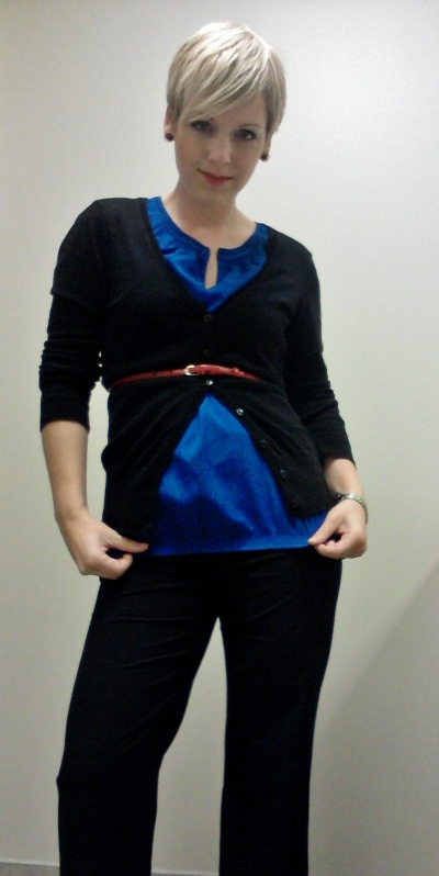cobalt blue blouse, blue top, dressing for success, business clothes for women