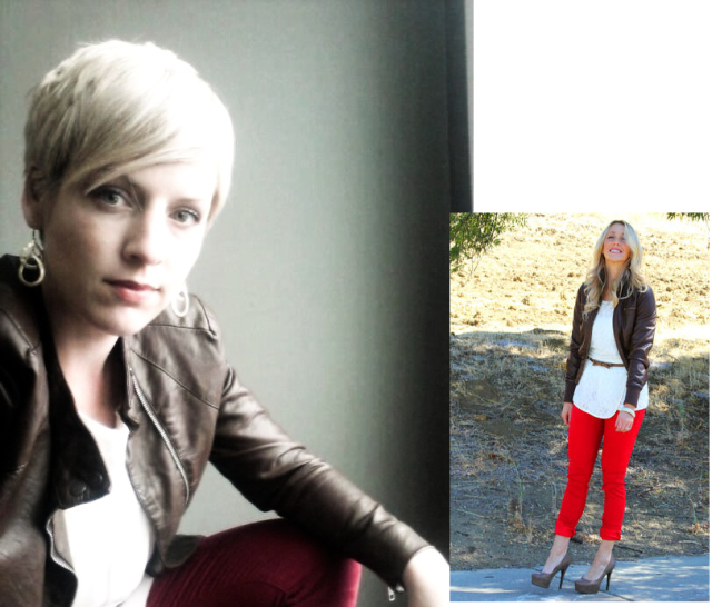 red jeans, brown leather jacket, bomber jacket, business casual