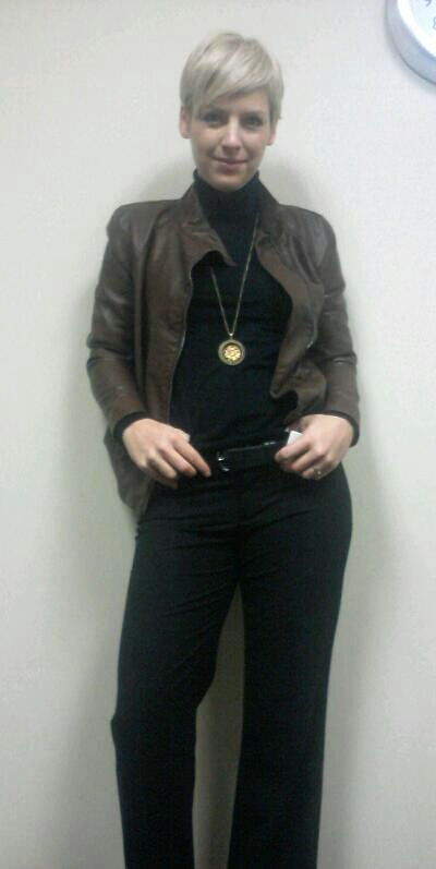 black & leather, brown and black, dressing for success, faux leather jacket, bomber jacket