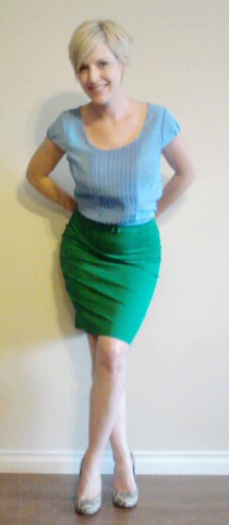 green pencil skirt, feminine look for work, skirt length, animal print shoes