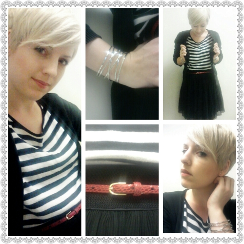 black & white, black flared skirt, red skinny belt, stripes