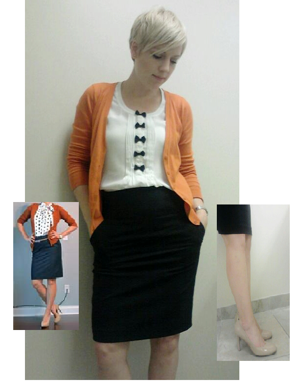 Orange cardigan, black and white, black pencil skirt, how to wear a black pencil skirt, nude heels, copy cat