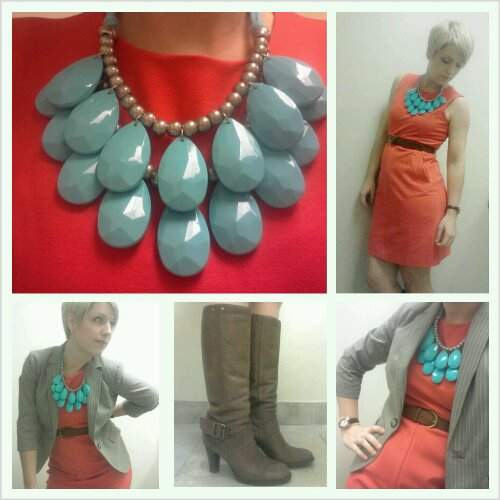 punch coloured dress, red sheath, turquoise, tear drop necklace, business clothes for women