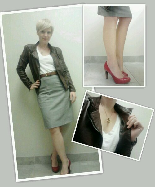 pencil skirt, leather moto jacket, red heels, business clothes looks for women