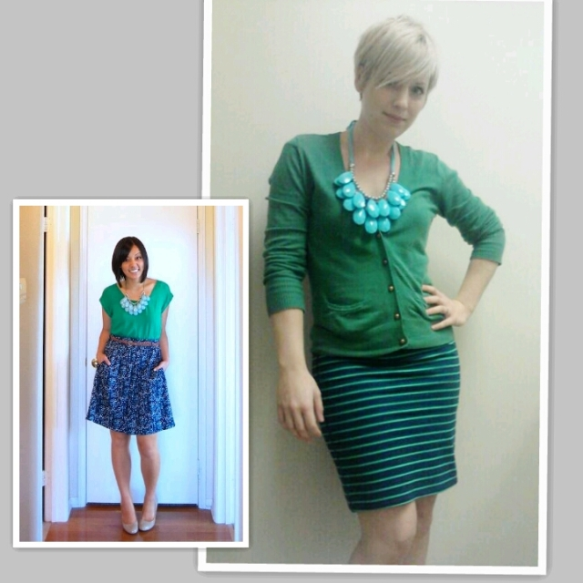 cool colours, green and blue, pencil skirt, striped skirt, chunky turquoise necklace