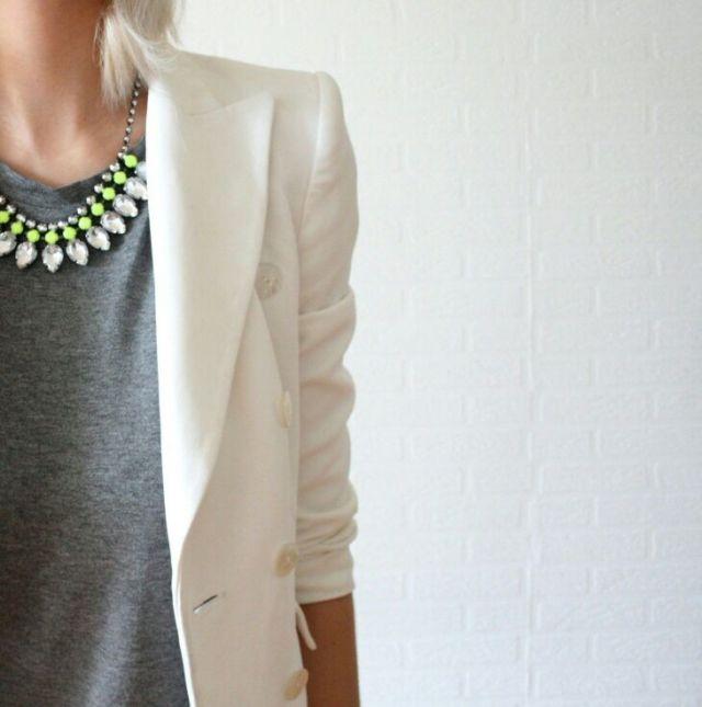White Blazer, great work necklaces,
