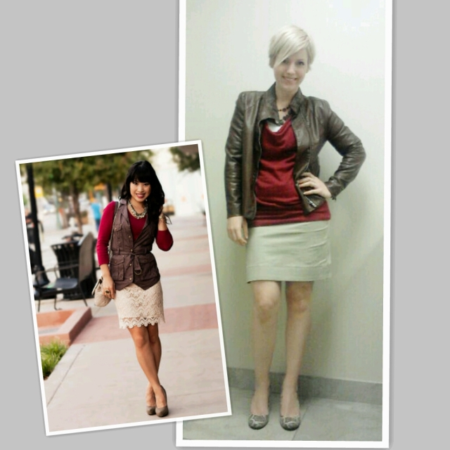 Faux Leather, Red sweater, pencil skirt