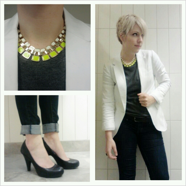 pop of yellow, business casual, white blazer for women