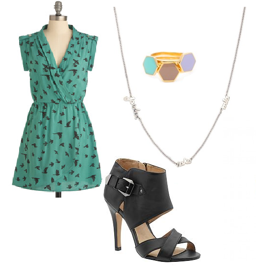 Green dress, delicate jewelry, Eugenie Heel