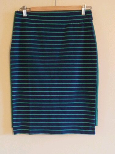 Blue Striped Pencil Skirt