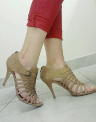 Strappy Peep Toes for Work, Camel coloured Heels