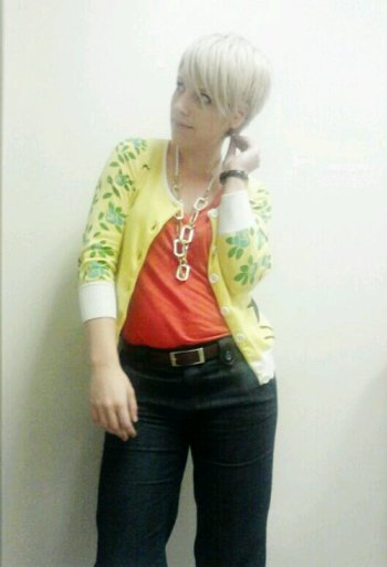 Cute work cardigans, hummingbird, red and yellow
