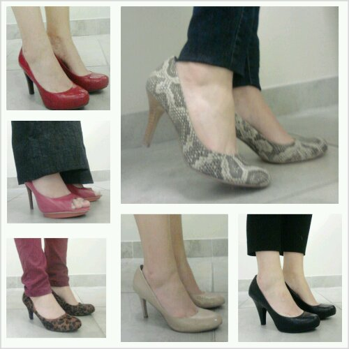 Heels for work, Red Heels, Animal Print heels, peep toe heels
