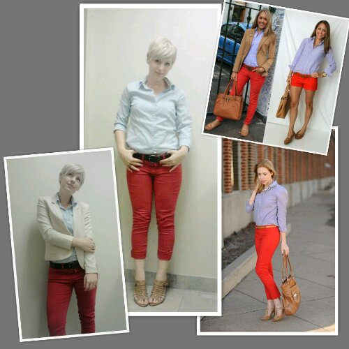 How to wear red Jeans to work, Casual Friday look for women