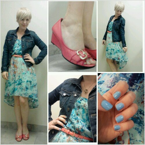 Casual Fridays for women, how to wear a denim jacket, blue nail polish for work, coral wedges