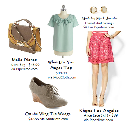 Sage Green, lace skirt, wedge bootie, spring look for work