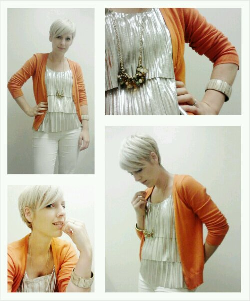 Orange Cardigan, How to wear metallics, white denim jeans for work, long necklace