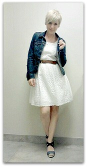 eyelet dress and denim jacket