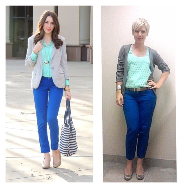 colour combinations, mint and cobalt blue outfit