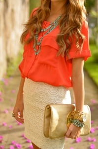 lace skirt, coral and turquoise