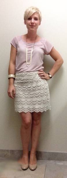 lace skirt, monochromatic look