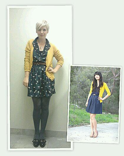 Retro dress, how to wear blue and yellow