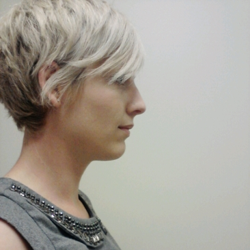Blonde pixie hair cut