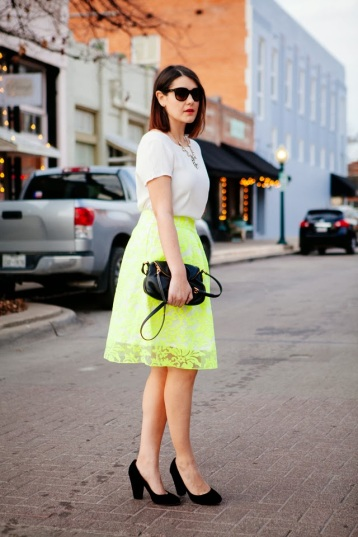 How to Wear a Neon Yellow Skirt