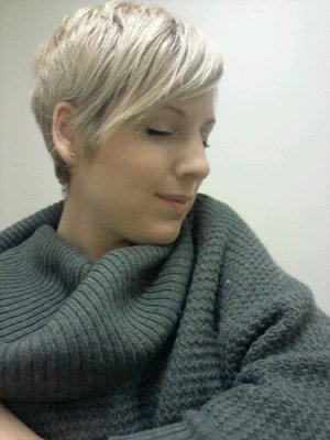 short blonde pixie cut