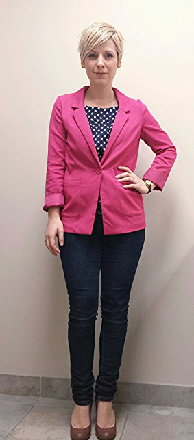 Pink Blazer and Navy Polka Dots